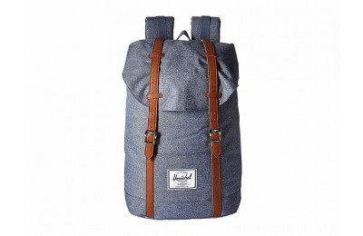 Herschel Supply Co. Retreat Dark Chambray Crosshatch/Tan Synthetic Leather